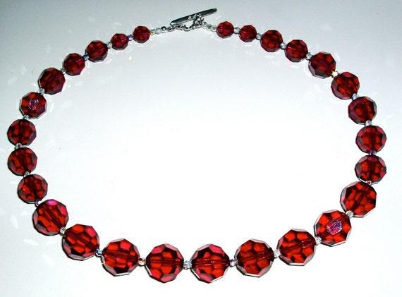 SALE - Burgundy Large Round Crystal Necklace