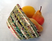 Green Coiled Fabric Basket Bowl - Twisted Cord Loop Design