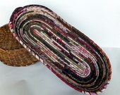 Cottage chic bread basket - earthy browns and pinks - large oblong
