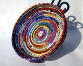 Shallow Coiled Fabric Bowl Basket - Large - Mid-Century Retro Red, Yellow, and Blue