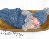 Blue Pod Cocoon Set with grey fuzzy trim and Pom Pom Hat for Newborn Boys Photography Prop