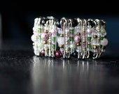 Blush Garden Pinlet. frosted pink, green, with black glass beaded safety pin bracelet bridal