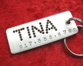 Pet ID Tag Dog Tag Custom Pet Tag for Dogs and Cats Hand Stamped - Rectangle shaped