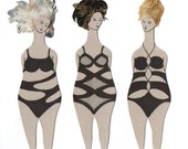 Paper doll // Bookmark// Book Club Gift // Set of 3 // Swimmers