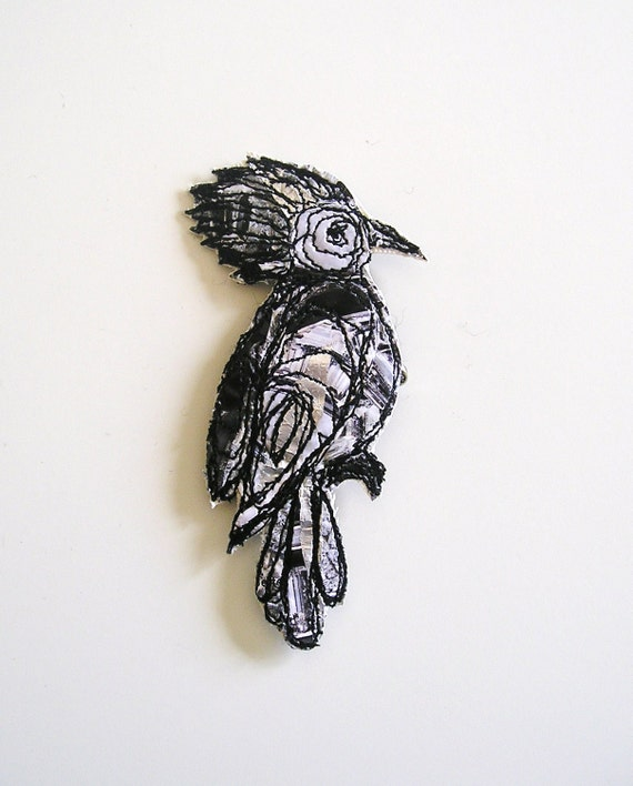 Exotic birds upcycled  decorative  pin/brooch