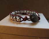 Red Leather & Silver Bead Wrap Bracelet
