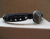 Black Onyx  & Gunmetal Button Mens/Unisex Single Leather Wrap Bracelet