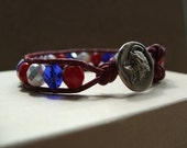 London Olympics 2012 Inspired Czech Glass Bead Leather Wrap Bracelet