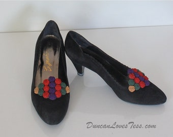 Vintage 80s Black Suede Pumps