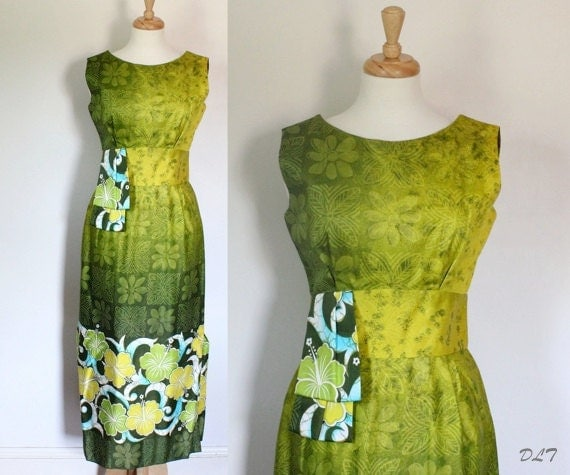 60s Dress / 60s Hawaiian Dress / Hawaiian Dress / Tiki Dress / Hawaiian Maxi Dress / Atomic Hawaiian Dress / Mad Men Dress