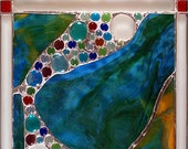 """SOLD The River of Life. Unique Stained Glass Panel, 17""""x14"""""""