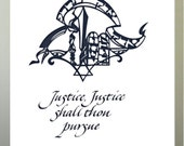 "Justice, Justice Shall Thou Pursue. Papercut, 14""x11."" It is also a Gift for any Occasion"