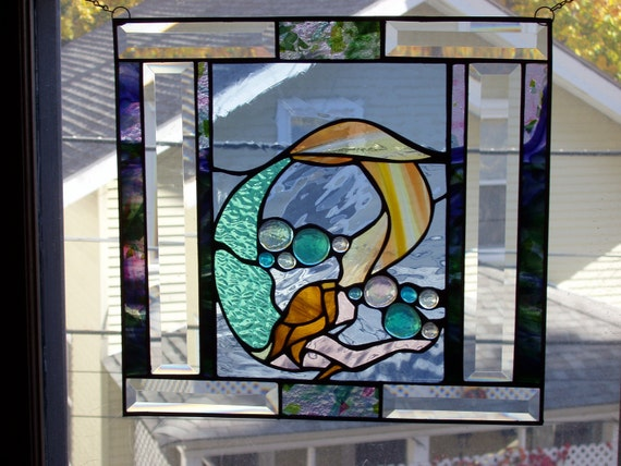 """Mermaid. Unique Stained Glass Panel, 15""""x15"""""""