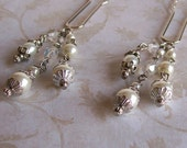 White Pearl and Crystal Silver Hair Pins - Wedding Hair Jewelry - Bridal Hair Pins - Pearl Hair Pins