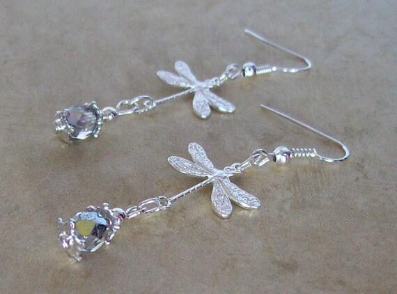 Silver Dragonfly Earrings - Dragonflies with Marea Czech Glass Earrings - Garden Wedding Earrings