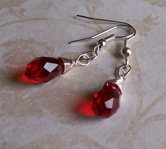 Red Glass Wire Wrapped Earrings - Sterling Silver Ear Hooks - Silver Plated Wire