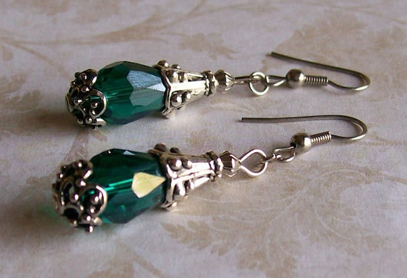 Green Glass Boho Look Earrings -  Forest Green Crystal Earrings - Emerald Green and Silver