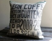 Clean Coffee - 18inch Designer Upcycled Burlap Pillow