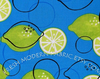 Half Yard Limes on Blue, Metro Market, Monaluna, Robert Kaufman Fabrics, 100% Cotton Fabric