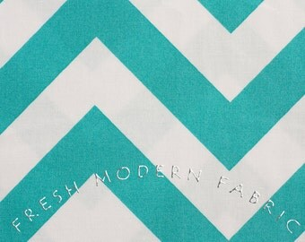 Half Yard of Half Moon Modern Zig Zag in Aqua, Moda Fabrics, 100% Cotton Fabric, 32349-22