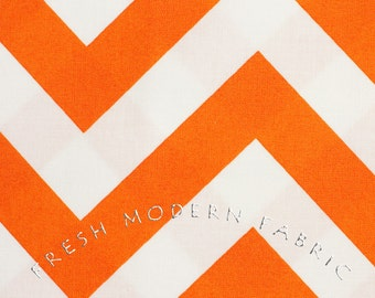 Half Yard of Half Moon Modern Zig Zag in Tangerine, Moda Fabrics, 100% Cotton Fabric