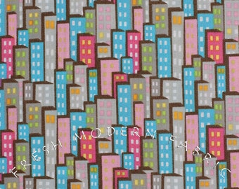 Half Yard of Sweet on NYC Packed Buildings, by The Pixie Pops for Timeless Treasures, 100% Cotton Fabric