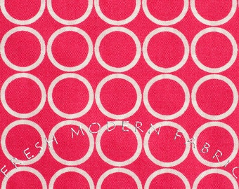 Half Yard Metro Living Circles in Fuschia, Robert Kaufman, 100% Cotton Fabric