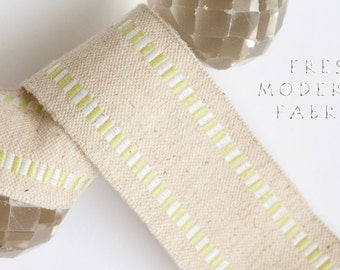 2 Yards Chartreuse and White Striped Edge Burlap Ribbon, 1.5 Inch Width
