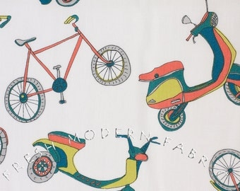Half Yard VeloCity Bikes in White, Jessica Hogarth for P&B Textiles, 100% Cotton Fabric