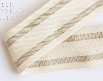 2 Yards Natural 1.5-inch Striped Edge Woven Cotton Trim, 1.5 Inches Wide by Two Yards Long