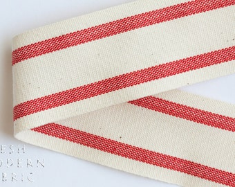 2 Yards Red 1.5-inch Striped Edge Woven Cotton Trim, 1.5 Inches Wide by Two Yards Long