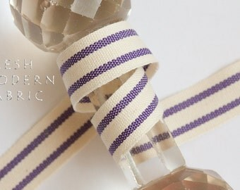 2 Yards Purple 5/8-inch Striped Edge Woven Cotton Trim, 5/8 Inch Wide by Two Yards Long