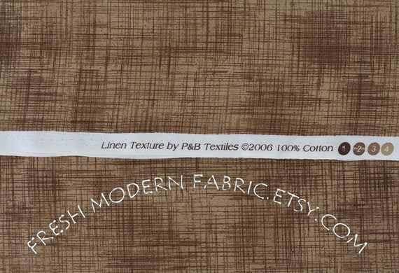 LAST PIECE Half Yard Linen Texture in Brown, P&B Textiles, 100% Cotton Fabric