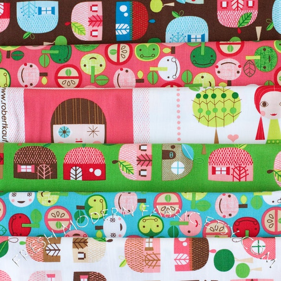 LAST AVAILABLE Fat Quarter Bundle of Appleville Prints by Suzy Ultman for Robert Kaufman Fabrics, 100% Cotton Fabric