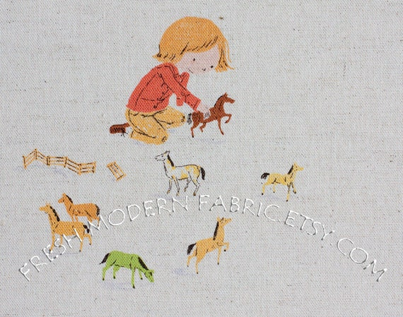 Fat Quarter Playing Horses on Natural, Far, Far Away III by Heather Ross for Kokka Fabrics