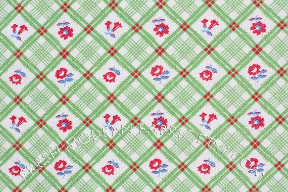 Half Yard of Strawberry Picnic Flower Check in Green by Whistler Studios for Windham Fabrics, 100% Cotton Fabric