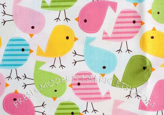 LAST PIECE Half Yard Birds in Spring, Urban Zoologie, by Ann Kelle for Robert Kaufman, 100% Cotton Fabric