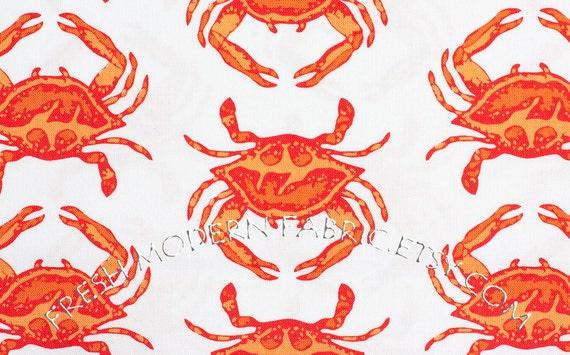 LAST PIECE Fat Quarter Crab Walk in Orange, Going Coastal, by Emily Herrick for Michael Miller Fabrics, 100% Cotton Fabric