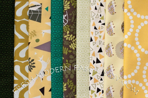 Fat Quarter Bundle Outfoxed, Outwitted Colorway, 9 Fat Quarters, Lizzy House for Andover Fabrics, 100% Cotton Fabric