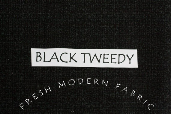 LAST PIECE Half Yard Tweedy Fabric in Black, P&B Textiles, 100% Cotton Fabric