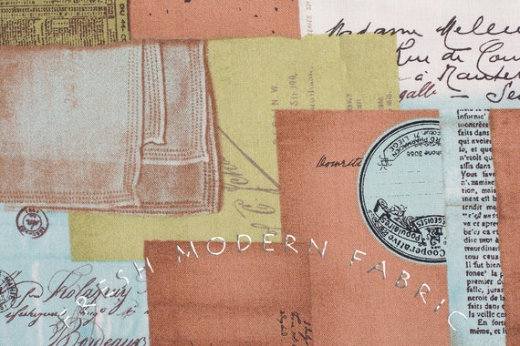Half Yard of Curio Letter Collage in Clove, BasicGrey for Moda Fabrics, 100% Cotton Fabric
