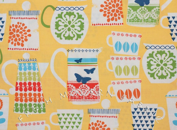 Half Yard Put a Lid on It in Citrus, Retro Kitchen, Michael Miller Fabrics, 100% Cotton Fabric
