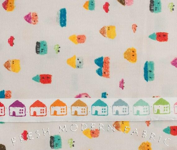 Fat Quarter Nakaniwa Crayon Houses by Yusuke Yonezu for Kiyohara Fabrics