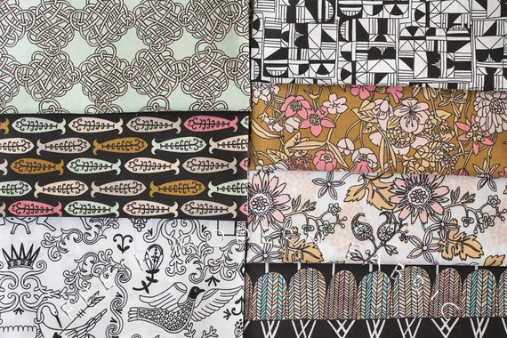 Fat Quarter Bundle Miscellany, 7 Pieces, 100% Organic Cotton, by Julia Rothman, Cloud9 Fabrics