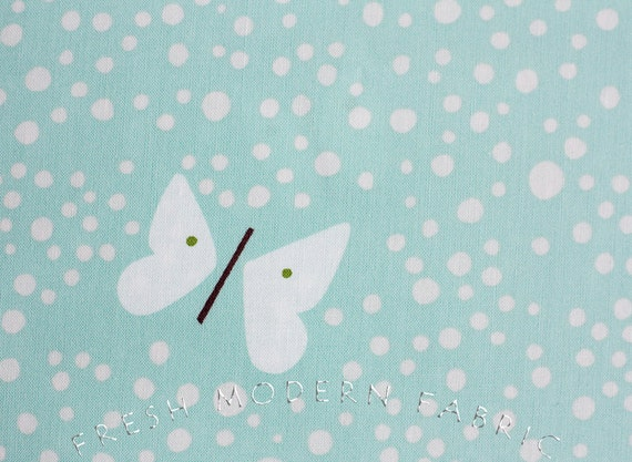 LAST PIECE Half Yard Hello Pilgrim Butterflies in Aqua, Lizzy House for Andover Fabrics, 100% Cotton Fabric