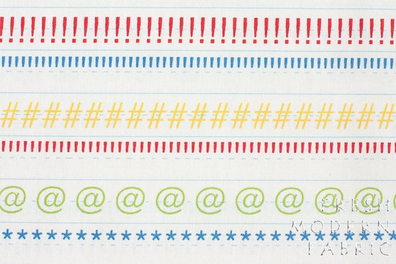 LAST PIECE Half Yard Punctuation Marks, American Jane for Moda Fabrics, 100% Cotton Fabric