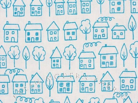 LAST PIECE Fat Quarter of Summersville Avenue in Seafoam Blue, Lucie Summers, Moda Fabrics, 100% Cotton Fabric
