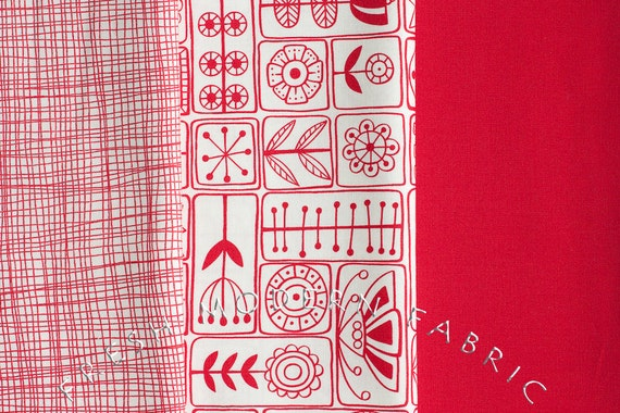 Fat Quarter Bundle of Summersville in London Bus Red, 3 Pieces, Lucie Summers, Moda Fabrics, 100% Cotton Fabric