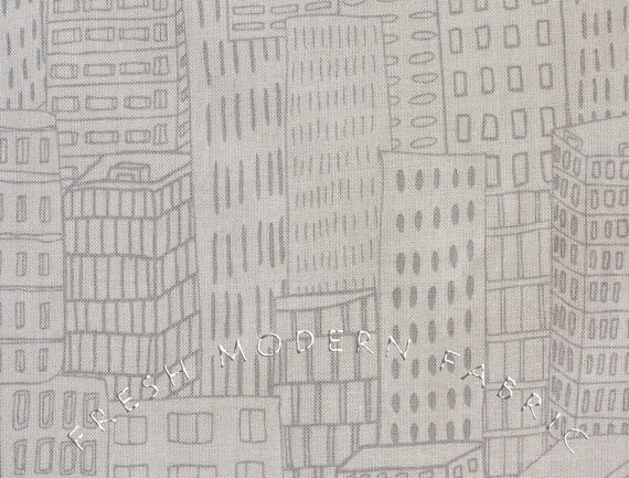 LAST PIECE Half Yard VeloCity Building Sketch in Grey, Jessica Hogarth for P&B Textiles, 100% Cotton Fabric