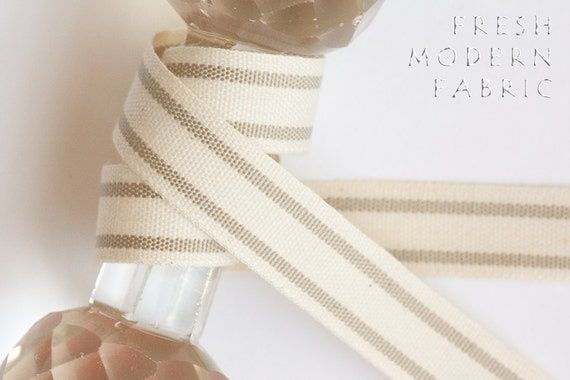 2 Yards Natural 5/8-inch Striped Edge Woven Cotton Trim, 5/8 Inch Wide by Two Yards Long
